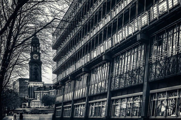 St Michaels Church Photograph - Contrasting Architecture Of Hamburg  by Carol Japp