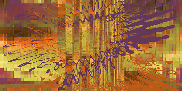 Wall Art - Digital Art - Controlled Chaos Yellow by Ben and Raisa Gertsberg
