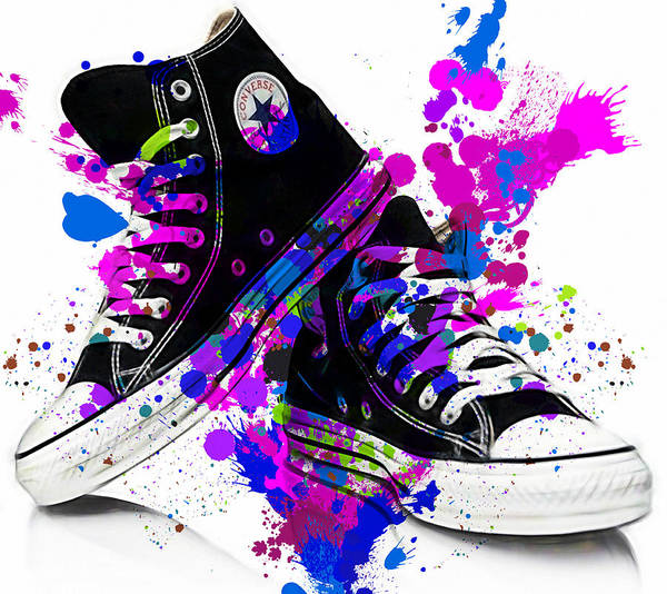 Wall Art - Mixed Media - Convers All Stars by Marvin Blaine
