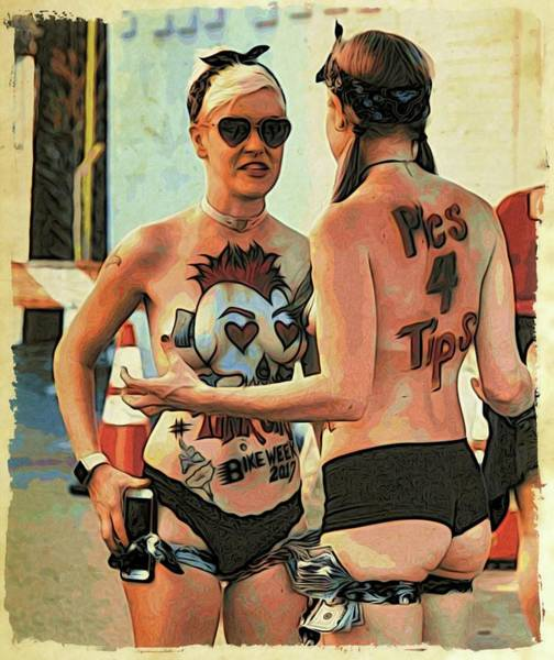 Daytona Bike Week Wall Art - Photograph - Conversating by Alice Gipson