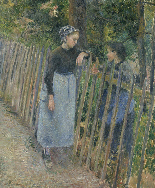 Painting - Conversation by Camille Pissarro