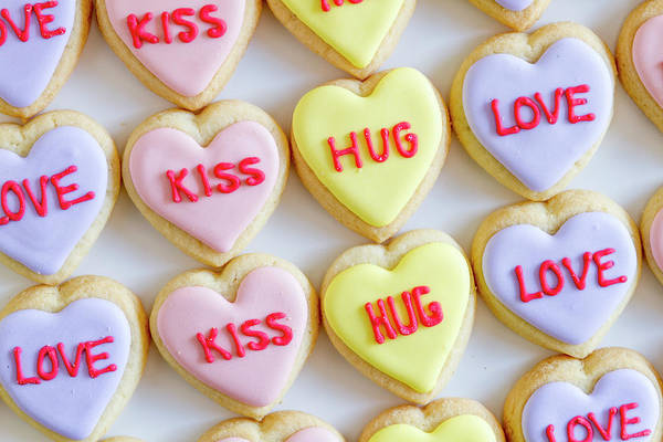 Photograph - Conversation Heart Decorated Cookies by Teri Virbickis