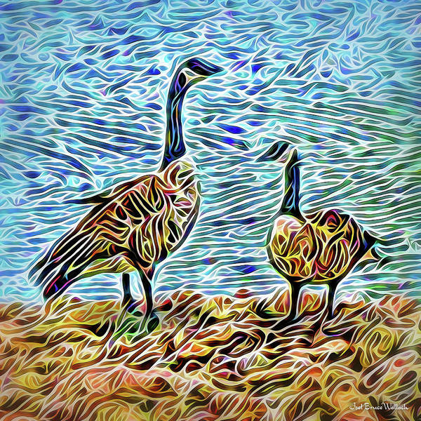 Digital Art - Conversation Of The Geese by Joel Bruce Wallach