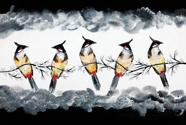 Lovebirds Painting - Conversations With Friends by Cathy Jacobs