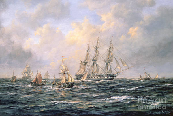 Fishing Boat Painting - Convoy Of East Indiamen Amid Fishing Boats by Richard Willis