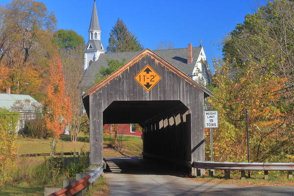 Wall Art - Photograph - Conway Ma Covered Bridge In Autumn by John Burk
