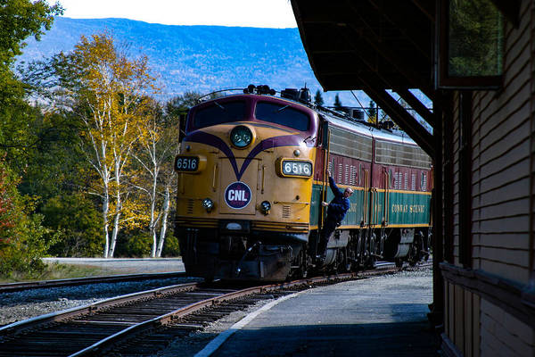 Photograph - Conway Scenic Train Pulls In by Jeff Folger