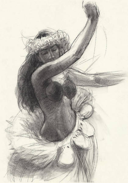 Drawing - Cook Islands Drum Dancer With Pearl Shells by Judith Kunzle
