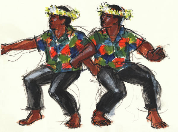 Painting - Cook Islands Ute Dancers by Judith Kunzle