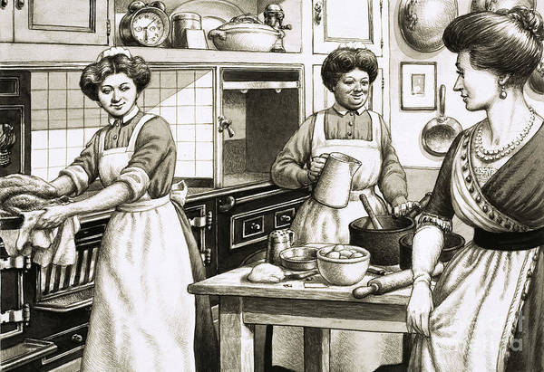 Wall Art - Painting - Cooking In Edwardian Times by Pat Nicolle