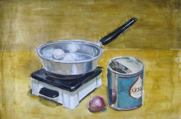Hitter Painting - Cookware Set In Dormitory by Mehrdad Sedghi