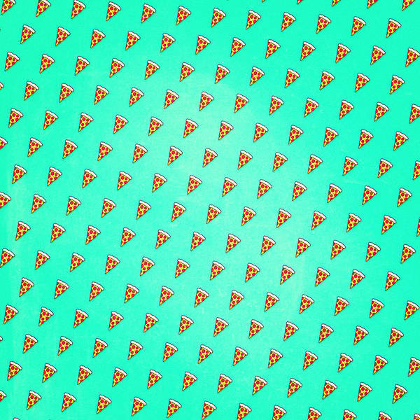 Wall Art - Digital Art - Cool And Trendy Pizza Pattern In Super Acid Green   Turquoise   Blue by Philipp Rietz