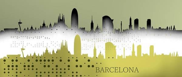 Digital Art - Cool Barceona Skyline by Alberto RuiZ