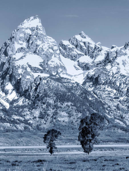 Photograph - Cool Blue Monotone Grand Teton by Dan Sproul