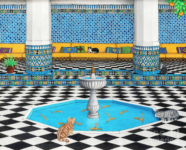 Wall Art - Painting - Cool Cats In Marrakech by Larry Smart