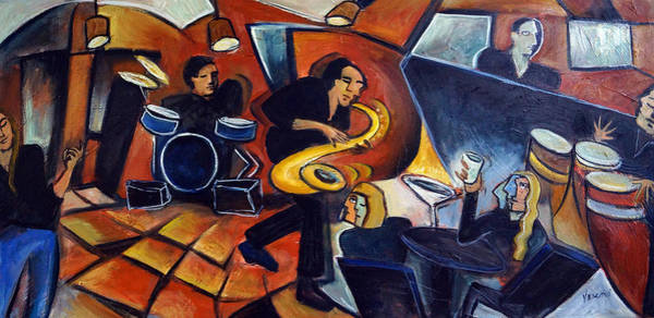 Sax Painting - Cool Jazz by Valerie Vescovi
