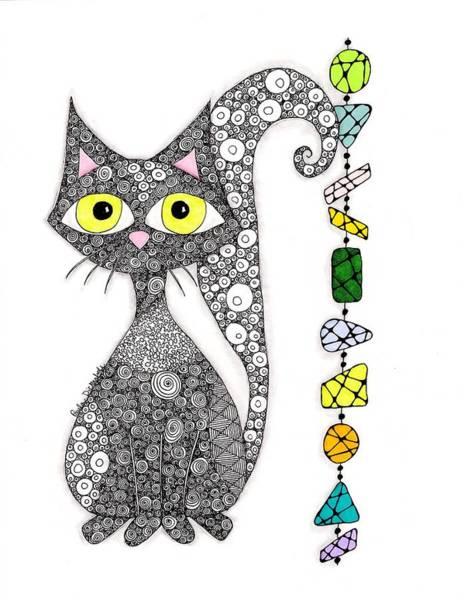 Zen Drawing - Cool Kat by Paula Dickerhoff