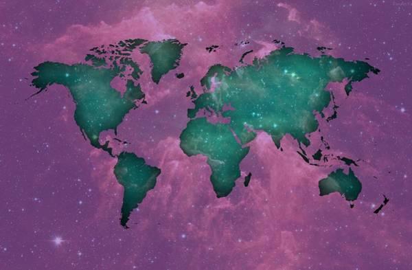 Digital Art - Cool Space Worldmap by Alberto RuiZ