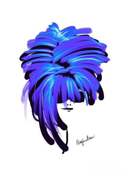 Hairdo Digital Art - Cool With Her Blue Hair by Peta Brown