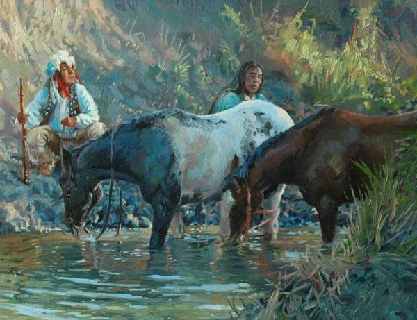 Lakota Painting - Cooling Down by Jim Clements