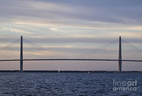 Cable-stayed Bridge Photograph - Cooper River Bridge And Colorful Clouds by Dustin K Ryan