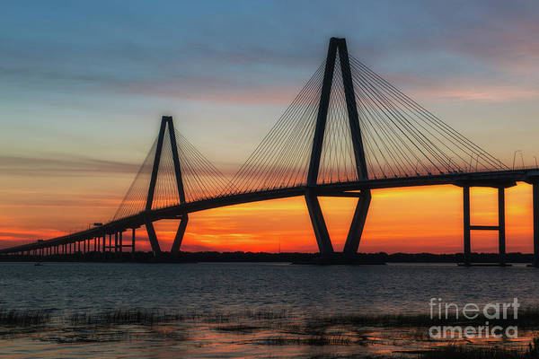 Photograph - Cooper River Bridge Golden Sunset Hour by Dale Powell
