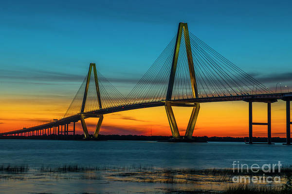 Photograph - Cooper River Bridge Orange Glow by Dale Powell