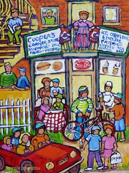 Painting - Cooper's Corner Store Vintage Montreal Street Summer In The City Montreal Memories Carole Spandau    by Carole Spandau