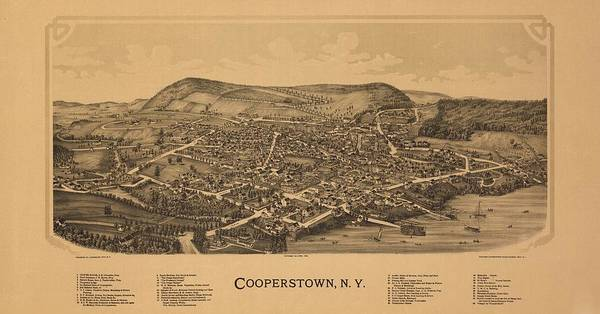 New York City Map Drawing - Cooperstown N Y 1890 by Mountain Dreams