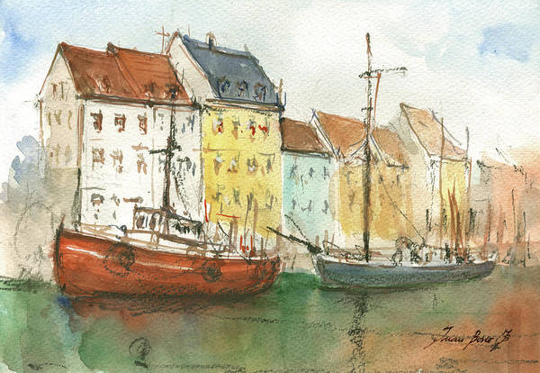 Wall Art - Painting - Copenhagen Harbour With Boats by Juan Bosco