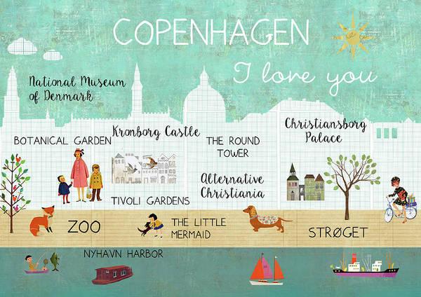 Copenhagen I Love You Art Print
