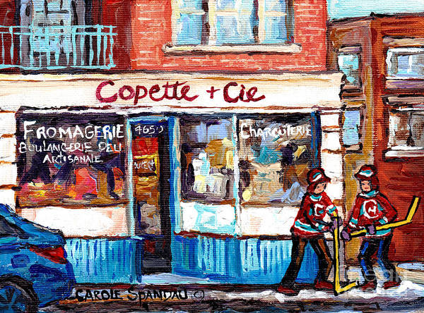 Painting - Copette Et Cie Fromagerie Charcuterie Verdun Montreal Storefront Winter Hockey Art Carole Spandau    by Carole Spandau