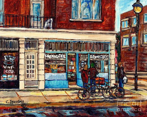 Painting - Copette Et Cie Fromagerie Wellington Street Scene Verdun Montreal Bakery Deli Painting C Spandau Art by Carole Spandau