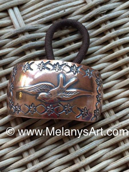 Sterling Silver Jewelry Wall Art - Jewelry - Copper Bird Ponytail Holder by Melany Sarafis