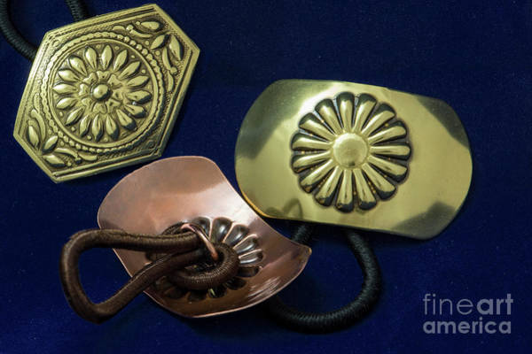 Sterling Silver Jewelry Wall Art - Jewelry - Copper Brass Flower Floral Ponytail Holder by Melany Sarafis