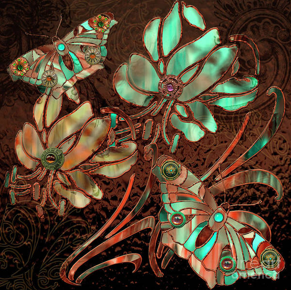 Wall Art - Painting - Copper Butterflies Stained Glass by Mindy Sommers