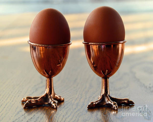 Chicken Feet Photograph - Copper Chicken Feet Egg Cups by Catherine Sherman