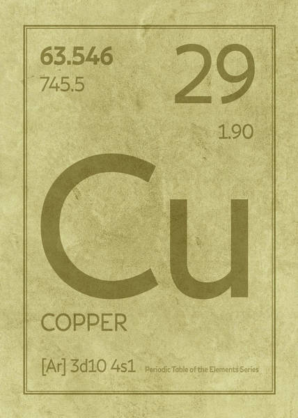Atomic Number Wall Art - Mixed Media - Copper Element Symbol Periodic Table Series 029 by Design Turnpike
