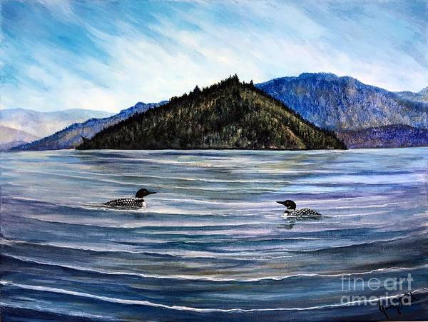 Loon Painting - Copper Island Fishing Buddies by Joey Nash