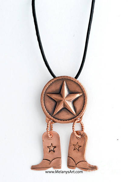 Jewelry - Copper Texas Star And Cowboy Boots Pendant Necklace by Melany Sarafis