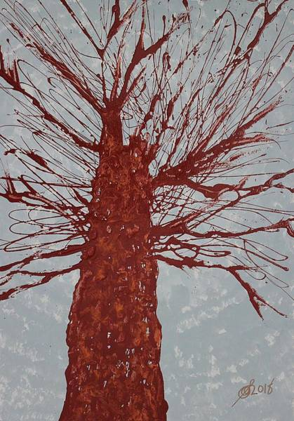 Painting - Copper Tree Original Painting by Sol Luckman