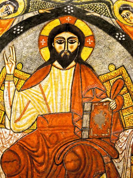 Photograph - Coptic Christ Pantocrator by Nigel Fletcher-Jones