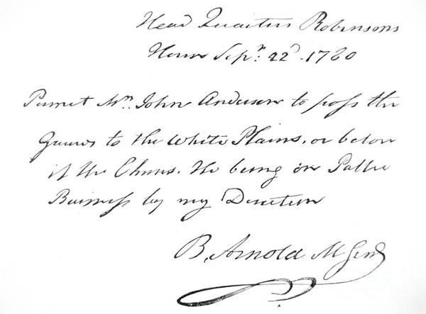 Wall Art - Drawing - Copy Of The Pass Carried By John Andre, Signed By Benedict Arnold by American School