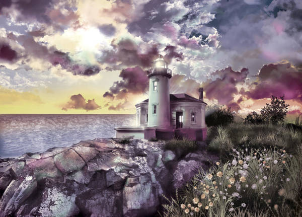 Wall Art - Painting - Coquille River Lighthouse 2 by Bekim M