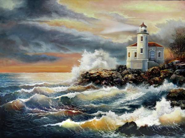 Gina Femrite Wall Art - Painting - Coquille River Lighthouse At Hightide by Regina Femrite