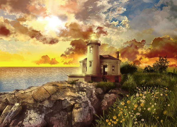 Wall Art - Painting - Coquille River Lighthouse by Bekim M