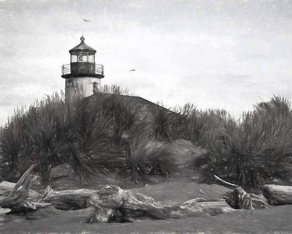 Photograph - Coquille River Lighthouse Oregon Black And White Giclee Art Print by Gigi Ebert