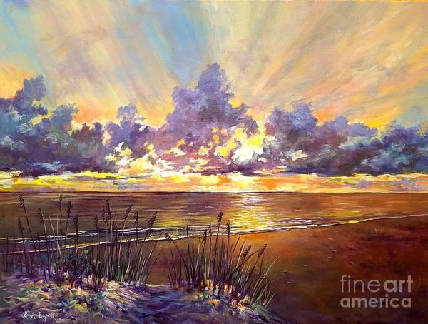 Wall Art - Painting - Coquina Beach Sunset by Lou Ann Bagnall