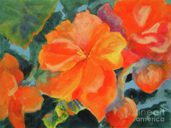 Wall Art - Painting - Coral Begonias by Kathy Braud