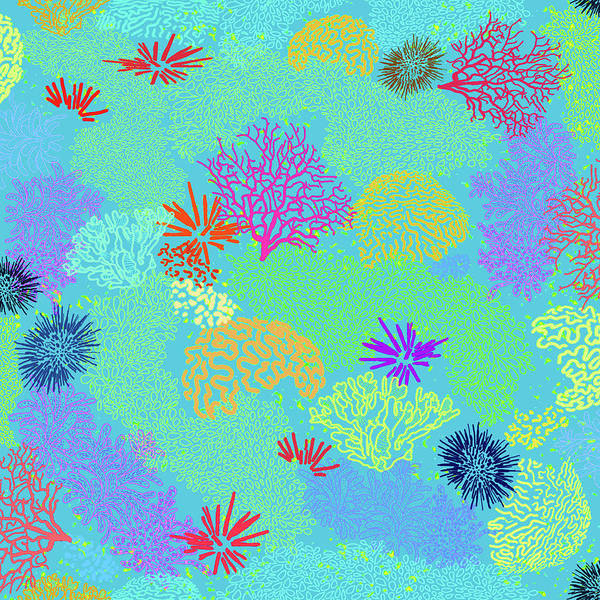 Digital Art - Coral Garden Bright Aqua Multi by Karen Dyson
